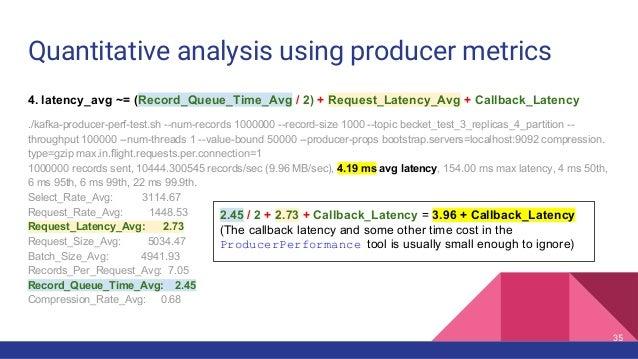 Quantitative analysis using producer metrics 4. latency_avg ~= (Record_Queue_Time_Avg / 2) + Request_Latency_Avg + Callbac...