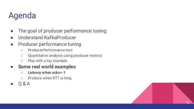 Agenda ● The goal of producer performance tuning ● Understand KafkaProducer ● Producer performance tuning ○ ProducerPerfor...