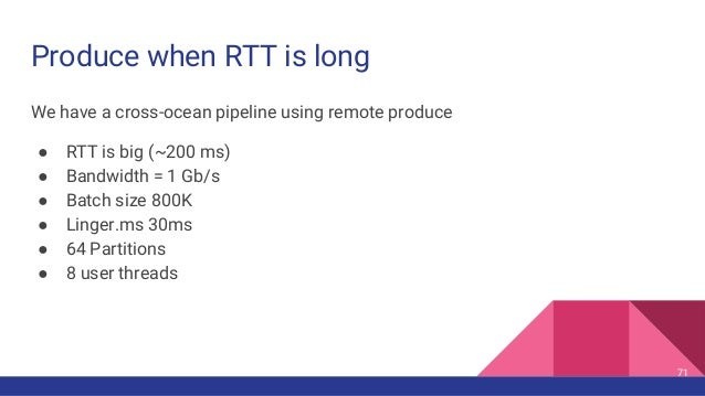 Produce when RTT is long We have a cross-ocean pipeline using remote produce ● RTT is big (~200 ms) ● Bandwidth = 1 Gb/s ●...