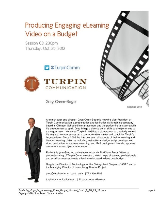 A former actor and director, Greg Owen-Boger is now the Vice President of                      Turpin Communication, a pre...
