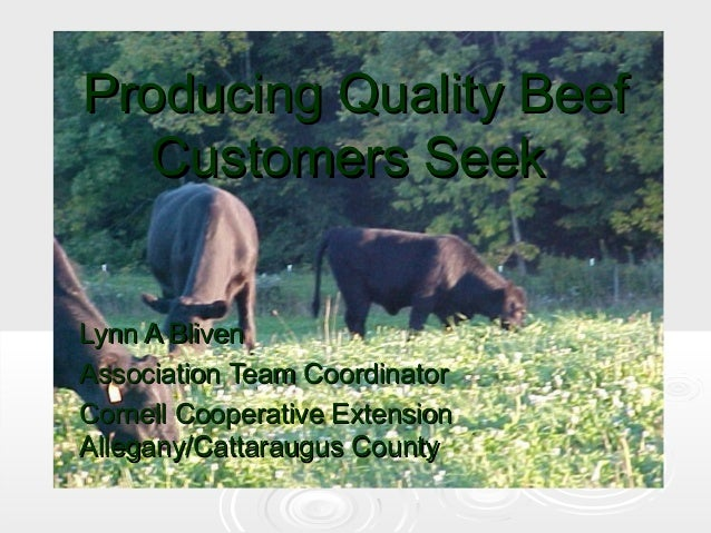 Producing Quality Beef Customers Seek Lynn A Bliven Association Team Coordinator Cornell Cooperative Extension Allegany/Ca...