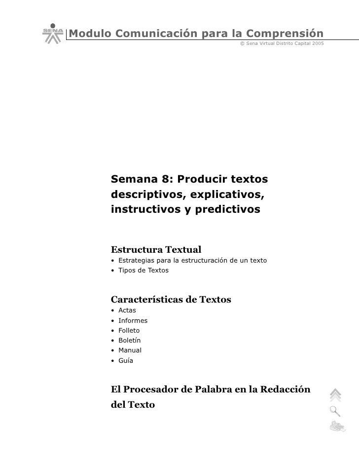 Producir Textos Descriptivos Explicativos Instructivos Y