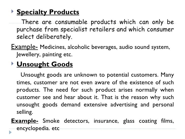 Nature Of Unsought Products