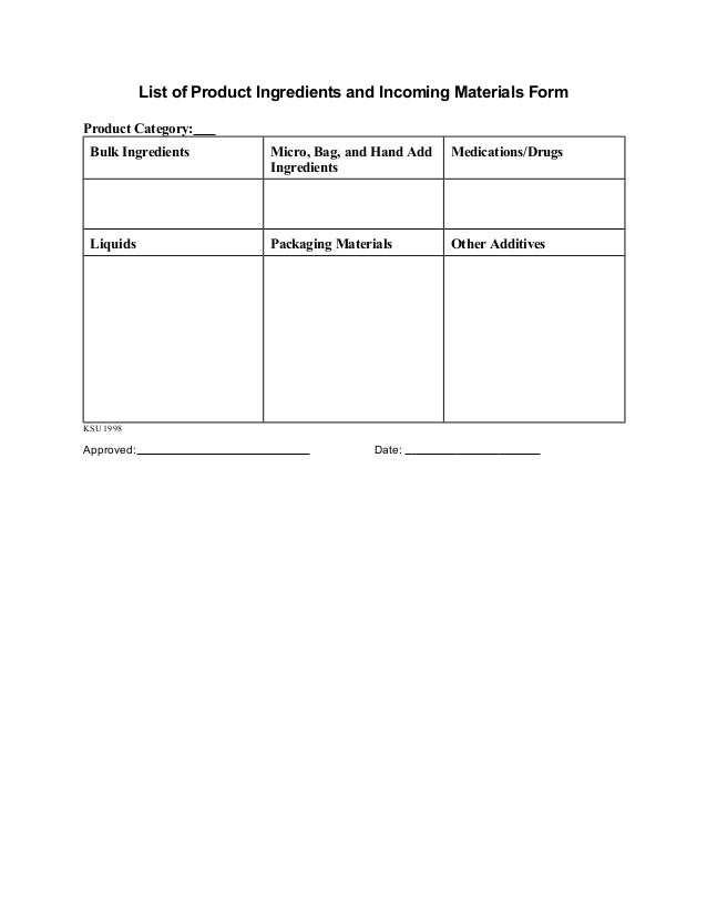 List of Product Ingredients and Incoming Materials Form Product Category: Bulk Ingredients  Micro, Bag, and Hand Add Ingre...