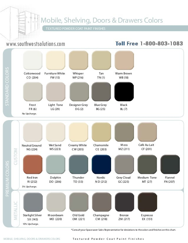 Spacesaver Products Color Chart
