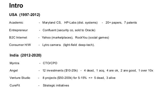 Intro USA (1997-2012) Academic - Maryland CS, HP-Labs (dist. systems) - 20+ papers, 7 patents Entrepreneur - Confluent (se...