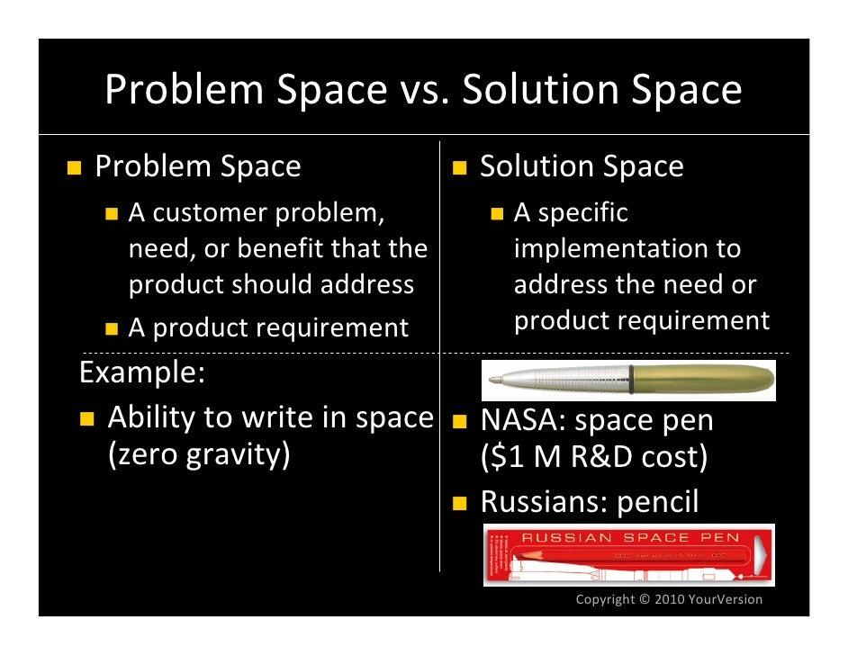 ProblemSpacevs.SolutionSpace  ProblemSpace                  SolutionSpace    Acustomerproblem,           Aspecif...