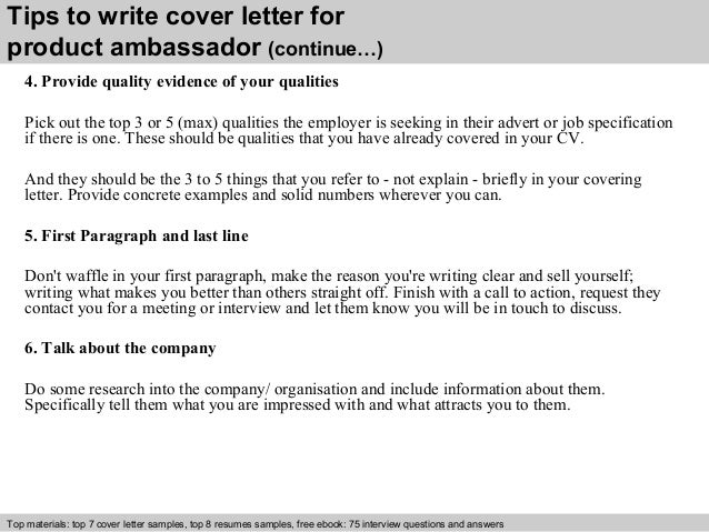 Product ambassador cover letter 4 tips to write cover letter for product ambassador spiritdancerdesigns Image collections