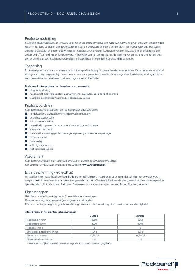 PRODUCTBLAD - ROCKPANEL CHAMELEON  1  Productomschrijving Rockpanel plaatmateriaal is ontwikkeld voor een snelle gebruiks...
