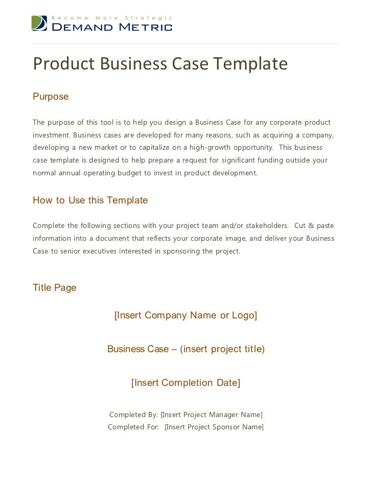 Product Business Case TemplatePurposeThe Purpose Of This Tool Is To Help  You Design A Business Case ...  Case Brief Template Word
