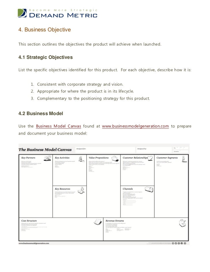 Product business case template 7 4 business objectivethis wajeb Choice Image