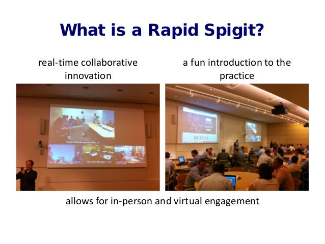 What is a Rapid Spigit? real-time collaborative innovation allows for in-person and virtual engagement a fun introduction ...