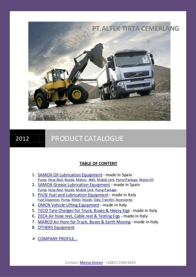 PT.ALTEK TIRTA CEMERLANG2012                PRODUCT CATALOGUE                                       TABLE OF CONTENT      ...