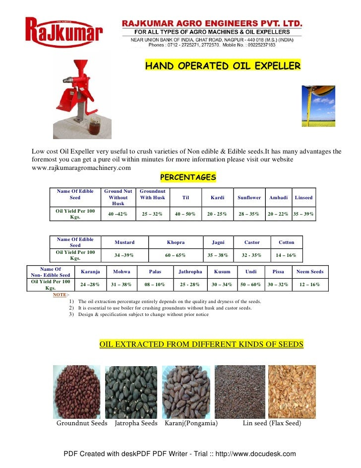 HAND OPERATED OIL EXPELLER     Low cost Oil Expeller very useful to crush varieties of Non edible & Edible seeds.It has ma...