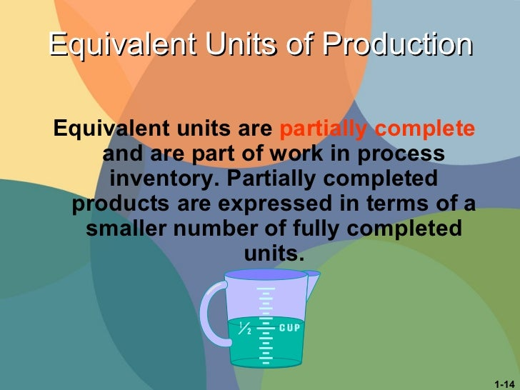 Equivalent Units of Production Equivalent units   are  partially complete  and are part of work in process inventory. Part...