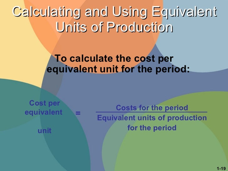 Calculating and Using Equivalent Units of Production <ul><li>To calculate the cost per equivalent unit for the period: </l...