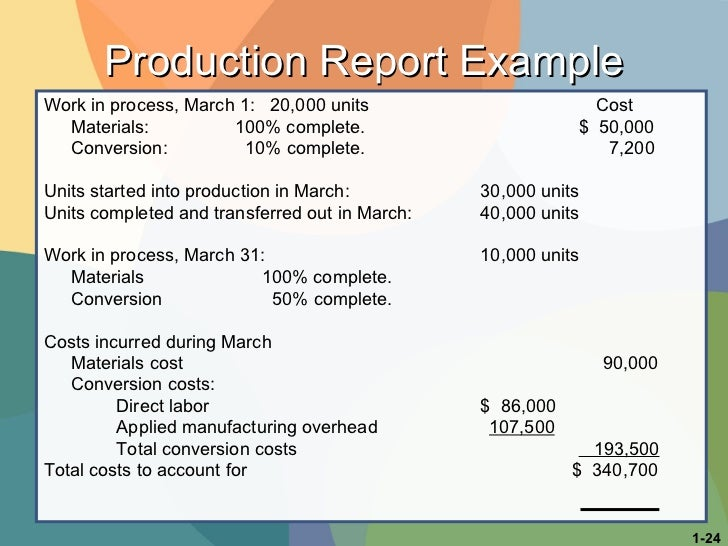 <ul><li>Work in process, March 1:  20,000 units   Cost  </li></ul><ul><li>Materials:   100% complete.     $  50,000 </li><...