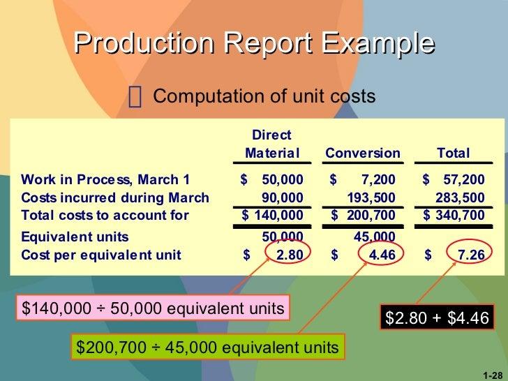 Production Report Example <ul><li>Computation of unit costs </li></ul>$140,000 ÷ 50,000 equivalent units $200,700 ÷ 45,000...