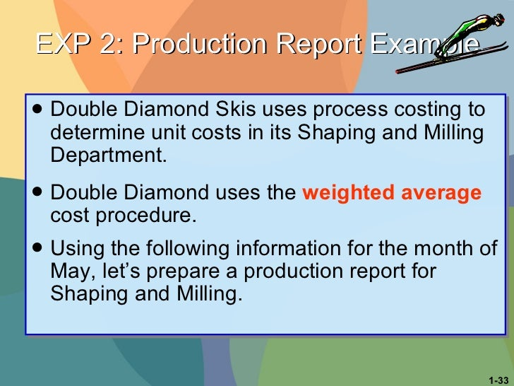 <ul><li>Double Diamond Skis uses process costing to determine unit costs in its Shaping and Milling Department.  </li></ul...