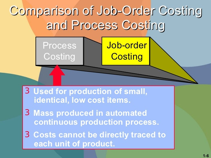 Comparison of Job-Order Costing and Process Costing Process Costing Process Costing Job-order Costing <ul><li>Used for pro...