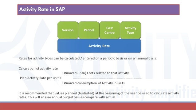 Activity Rate Cost Centre Version Period Activity Type Rates for activity types can be calculated / entered on a periodic ...