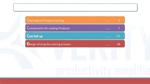 Table of Contents Overview of Product Costing ...... 3 Components for costing Products ...... 7 ...... 27 esign driving th...