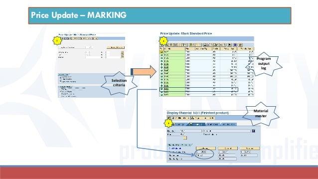 Selection criteria 1 Material master 2 3 Program output log Price Update – MARKING