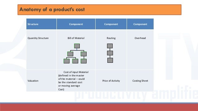 Anatomy of a product's cost Structure Component Component Component Quantity Structure Bill of Material Routing Overhead V...
