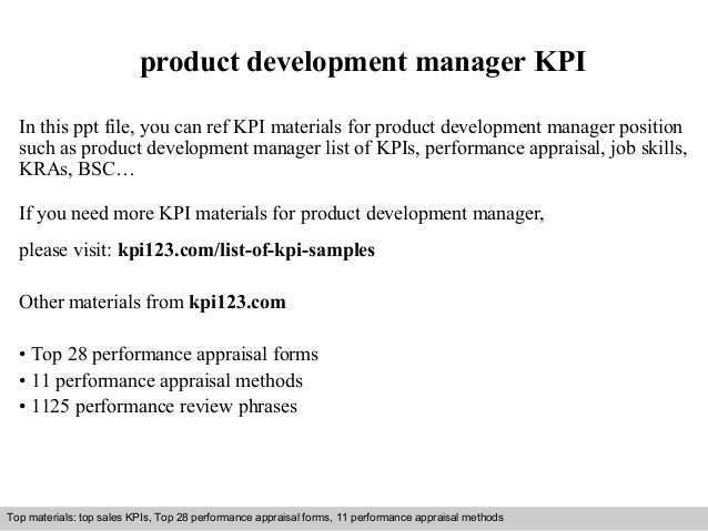 Product Development Manager Kpi