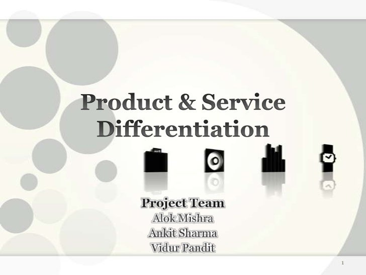 product differention Definition of product differentiation: development or incorporation of attributes (such as benefits, price, quality, styling, service, etc) that a product's intended customers perceive to be different and desirable.