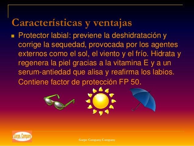 Características y ventajas   Protector labial: previene la deshidratación y    corrige la sequedad, provocada por los age...