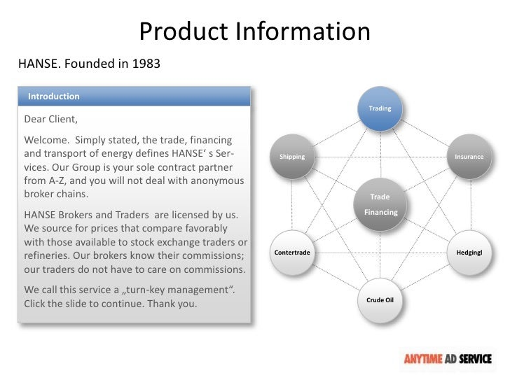 Product InformationHANSE. Founded in 1983 Introduction                                                                   T...