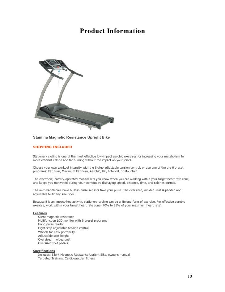 Product Information     Stamina Magnetic Resistance Upright Bike  SHIPPING INCLUDED  Stationary cycling is one of the most...