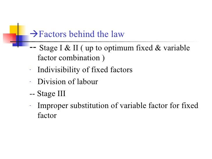 <ul><li> Factors behind the law </li></ul><ul><li>--  Stage I & II ( up to optimum fixed & variable factor combination ) ...