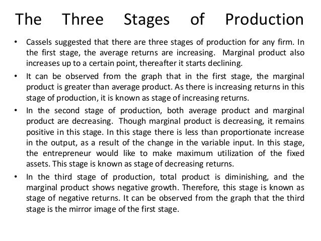 The  Three  Stages  of  Production  • Cassels suggested that there are three stages of production for any firm. In the fir...
