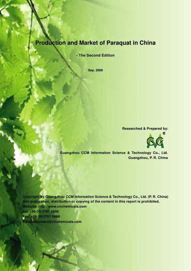 Production and market of paraquat in china