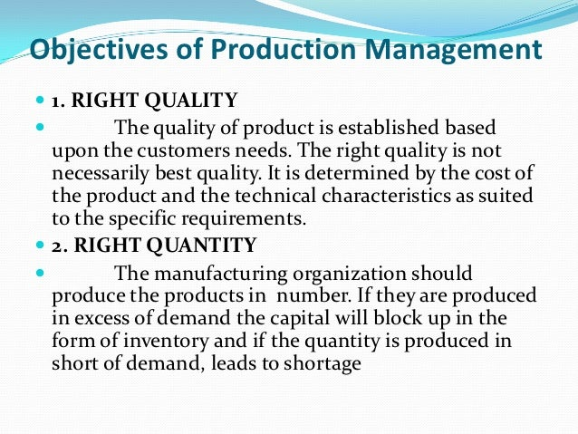 objective of production management and operation management
