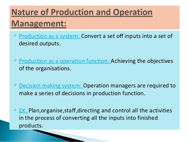assignments production and operation management Insights into organizing your work flow and creating an effective production plan  preferred as a means to communicate operation schedules to floor  bdc.