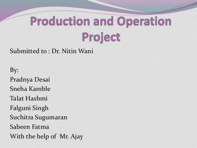 Assignment topics of production operation management