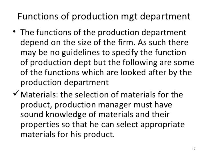 significance of production management