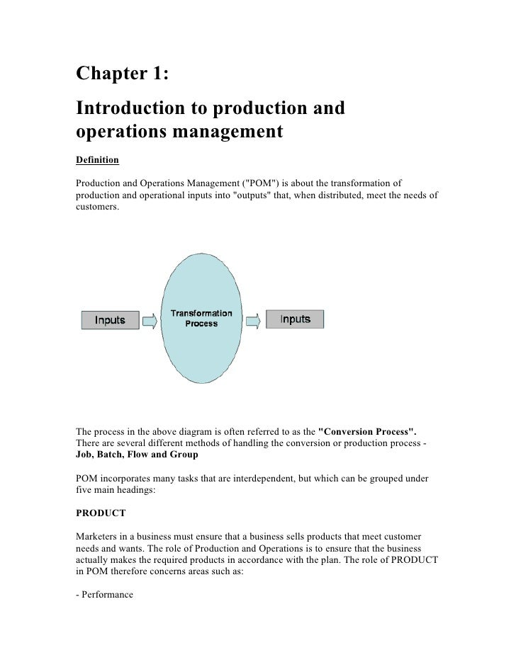 "Chapter 1:Introduction to production andoperations managementDefinitionProduction and Operations Management (""POM"") is abo..."