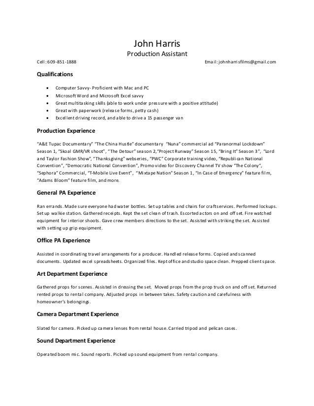 production assistant resume 5