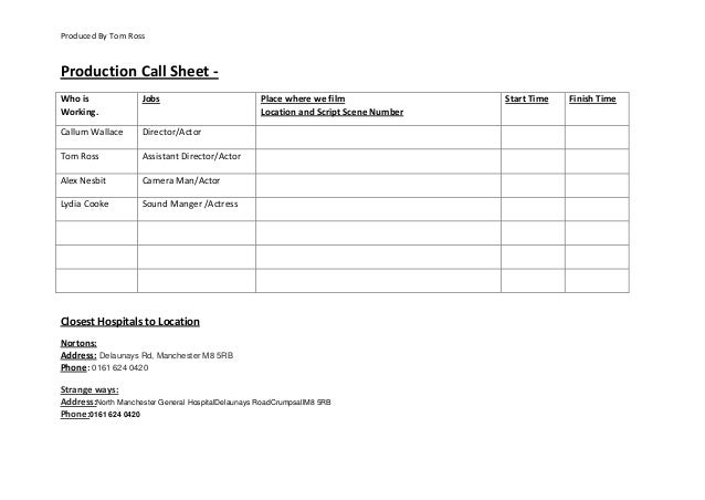 Produced By Tom Ross  Production Call Sheet Who is Working.  Jobs  Callum Wallace  Director/Actor  Tom Ross  Assistant Dir...