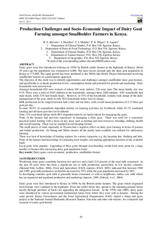 Food Science and Quality Management www.iiste.org ISSN 2224-6088 (Paper) ISSN 2225-0557 (Online) Vol.17, 2013 54 Productio...