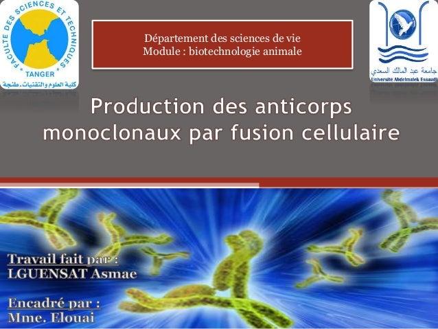 Département des sciences de vie Module : biotechnologie animale