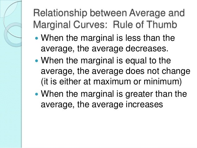 Relationship between Average and Marginal Curves: Rule of Thumb When the marginal is less than the average, the average de...