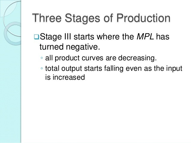 Three Stages of Production Stage  III starts where the MPL has turned negative. ◦ all product curves are decreasing. ◦ to...