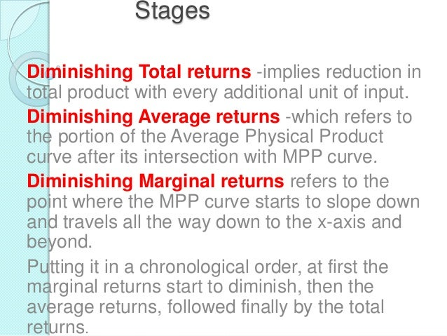Stages Diminishing Total returns -implies reduction in total product with every additional unit of input. Diminishing Aver...