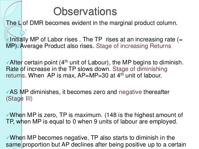 Observations The L of DMR becomes evident in the marginal product column. Initially  MP of Labor rises . The TP rises at ...