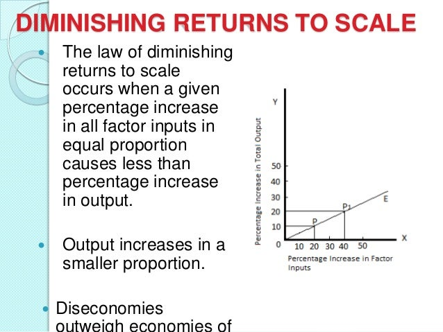 DIMINISHING RETURNS TO SCALE   The law of diminishing returns to scale occurs when a given percentage increase in all fac...